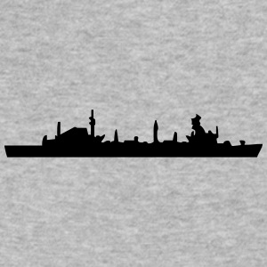 Vector Navy warship Silhouette - Men's V-Neck T-Shirt by Canvas