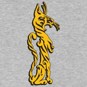 Tall_ornament_cat_yellow - Men's V-Neck T-Shirt by Canvas