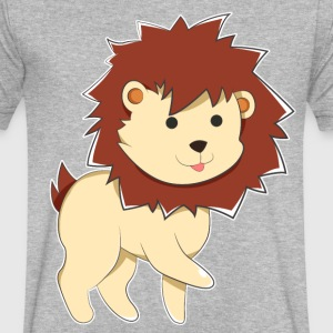 Happy Cartoon Baby Lion - Men's V-Neck T-Shirt by Canvas