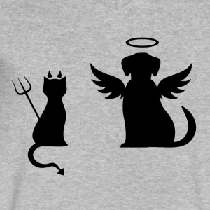 Devilish Cat And Angelic Dog - Men's V-Neck T-Shirt by Canvas