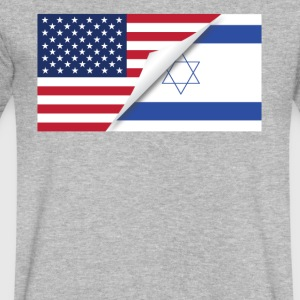 Half American Half Israeli Flag - Men's V-Neck T-Shirt by Canvas