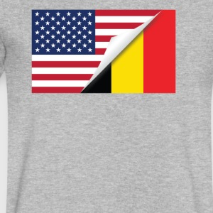 Half American Half Belgian Flag - Men's V-Neck T-Shirt by Canvas