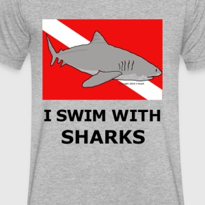Shark Diver - Men's V-Neck T-Shirt by Canvas