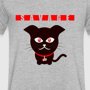 Savage Cat - Men's V-Neck T-Shirt by Canvas