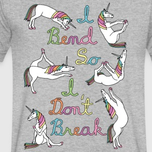 I Bend So I Don t Break 6 Unicorns Cursive Outlin - Men's V-Neck T-Shirt by Canvas