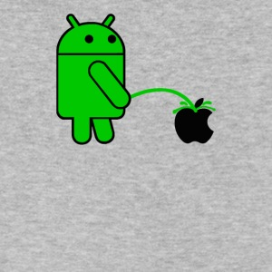 Android Robot Peeing on an Apple Mens Phone War - Men's V-Neck T-Shirt by Canvas