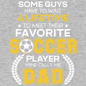 Favorite Soccer Player Mine Calls Me Dad T Shirt - Men's V-Neck T-Shirt by Canvas