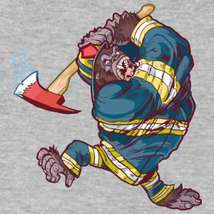 Firefighter_Gorilla_Swinging_Axe - Men's V-Neck T-Shirt by Canvas