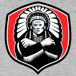 american_indian_chief_shield_black_red - Men's V-Neck T-Shirt by Canvas