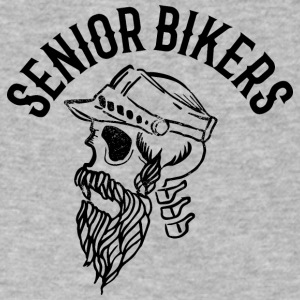 Senior biker skull tatoo inscription - Men's V-Neck T-Shirt by Canvas