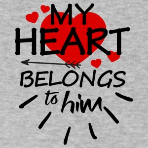 My heart belongs to him (black text) - Men's V-Neck T-Shirt by Canvas