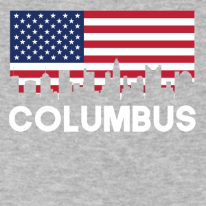 Columbus OH American Flag Skyline - Men's V-Neck T-Shirt by Canvas
