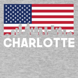 Charlotte NC American Flag Skyline - Men's V-Neck T-Shirt by Canvas