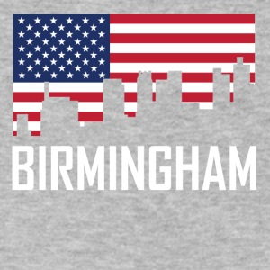 Birmingham Alabama Skyline American Flag - Men's V-Neck T-Shirt by Canvas