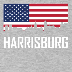 Harrisburg Pennsylvania Skyline American Flag - Men's V-Neck T-Shirt by Canvas