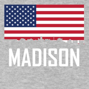 Madison Wisconsin Skyline American Flag - Men's V-Neck T-Shirt by Canvas