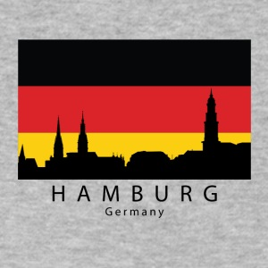 Hamburg Germany Skyline German Flag - Men's V-Neck T-Shirt by Canvas