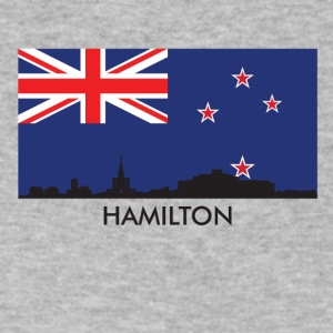 Hamilton Skyline New Zealand Flag - Men's V-Neck T-Shirt by Canvas