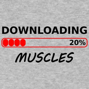 downloading muscles tshirt - Men's V-Neck T-Shirt by Canvas