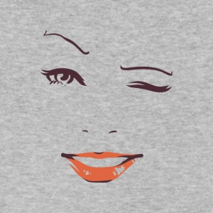 Winking Woman face on t-shirt - Men's V-Neck T-Shirt by Canvas