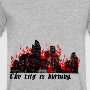 The City is Burning - Men's V-Neck T-Shirt by Canvas