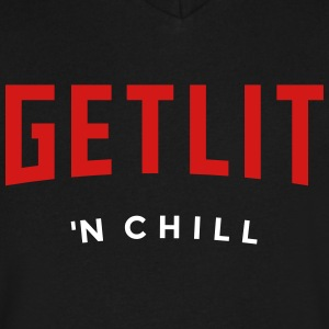 GET LIT 'N CHILL - (Netflix feel) - Men's V-Neck T-Shirt by Canvas