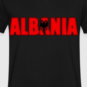 Albania Flag - Men's V-Neck T-Shirt by Canvas