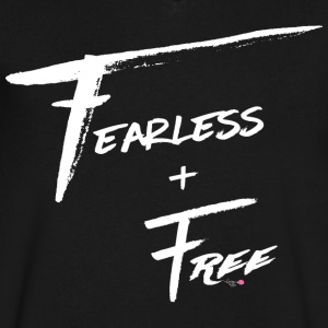 Fearless and Free White Print - Men's V-Neck T-Shirt by Canvas
