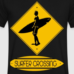Surfer Crossing - Men's V-Neck T-Shirt by Canvas
