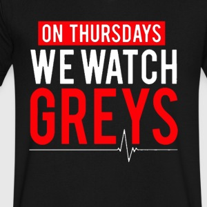 On Thursdays We Watch Greys Tshirt - Men's V-Neck T-Shirt by Canvas