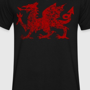 vintage wales red - Men's V-Neck T-Shirt by Canvas