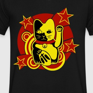 Lucky Cat - Men's V-Neck T-Shirt by Canvas