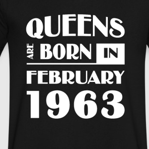 Queens are born in February 1963 - Men's V-Neck T-Shirt by Canvas