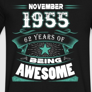 November 1955 - 62 years of being awesome - Men's V-Neck T-Shirt by Canvas