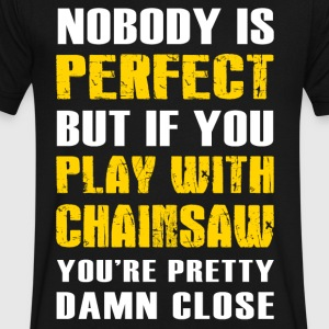 Play with Chainsaw T-Shirt - Men's V-Neck T-Shirt by Canvas