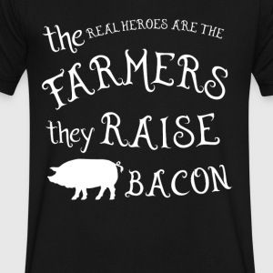 Farmer they raise bacon T Shirts - Men's V-Neck T-Shirt by Canvas