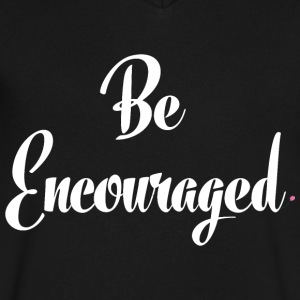 Be Encouraged - White - Men's V-Neck T-Shirt by Canvas