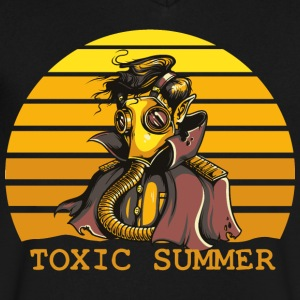 Alien with gasmask on earth - toxic summer is near - Men's V-Neck T-Shirt by Canvas
