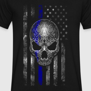 blue stripe skull - Men's V-Neck T-Shirt by Canvas