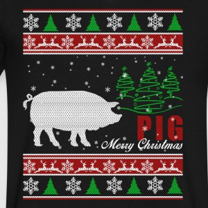 Pig Shirt - Pig Christmas Shirt - Men's V-Neck T-Shirt by Canvas