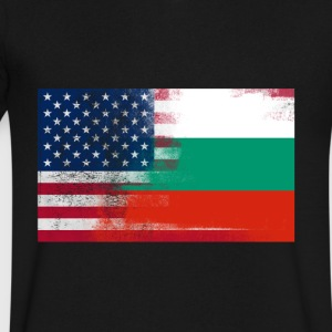 Bulgarian American Half Bulgaria Half America Flag - Men's V-Neck T-Shirt by Canvas