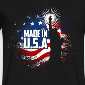 Liberty American flag graphic USA US 4th July - Men's V-Neck T-Shirt by Canvas
