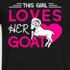This Girl Loves Her Goat Shirt - Men's V-Neck T-Shirt by Canvas