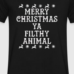 Merry Christmas you filthy animal - Men's V-Neck T-Shirt by Canvas