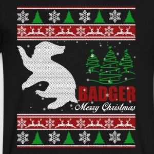 Badger T shirt - Badger Christmas Shirt - Men's V-Neck T-Shirt by Canvas