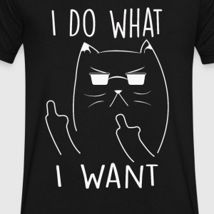 I Do What I Want Cat - Men's V-Neck T-Shirt by Canvas
