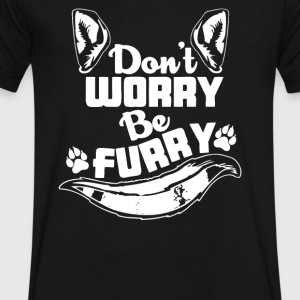 DONT WORRY BE FURRY - Men's V-Neck T-Shirt by Canvas