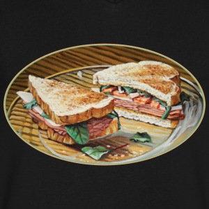 Ham, Salami and Cheese Sandwich - Men's V-Neck T-Shirt by Canvas
