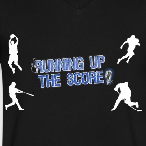 Running Up The Score White silhouette - Men's V-Neck T-Shirt by Canvas