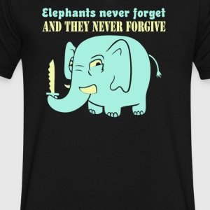 Elephants never forget never forgive - Men's V-Neck T-Shirt by Canvas